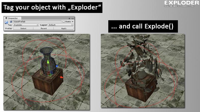 Exploder Unity Asset Destroy 3D Mesh Simple